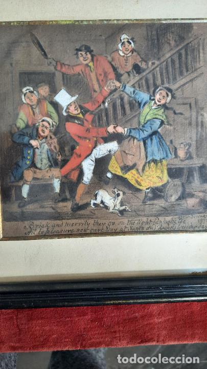 ACUARELA TEMPERA DE SIGLO XVIII ,PRINCIPIOS XIX CON ESCENA COMICA (Arte - Acuarelas - Antiguas hasta el siglo XVIII)