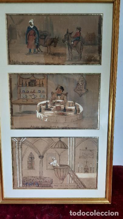 TREA ACUARELAS COMICAS DE SIGLO XVIII ENMARCADAS (Arte - Acuarelas - Antiguas hasta el siglo XVIII)
