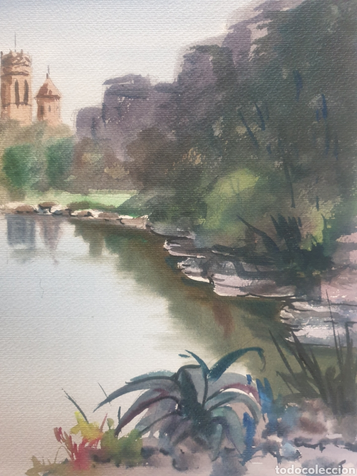 Arte: Joan Torrabadell (Granollers, 1930-1991)- Paisaje Fluvial.Firmada.Gran Formato. - Foto 5 - 254788330