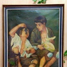 Arte: COPIA AL OLEO DE NIÑOS COMIENDO UVAS Y MELÓN DE MURILLO 60 X 90 CM. Lote 254947050