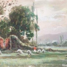 Arte: JOAQUIM MARSILLACH CODONY (OLOT, 1905-1986) - PAISAJE CON REBAÑO.T.MIXTA.FIRMADA.. Lote 254797945