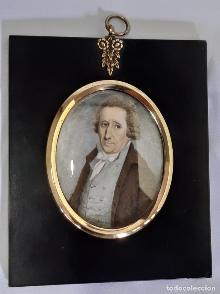 Arte: Retrato de caballero. Miniatura. Marco de época.Inglaterra. Siglo XVIII-siglo XIX. - Foto 2 - 255600925