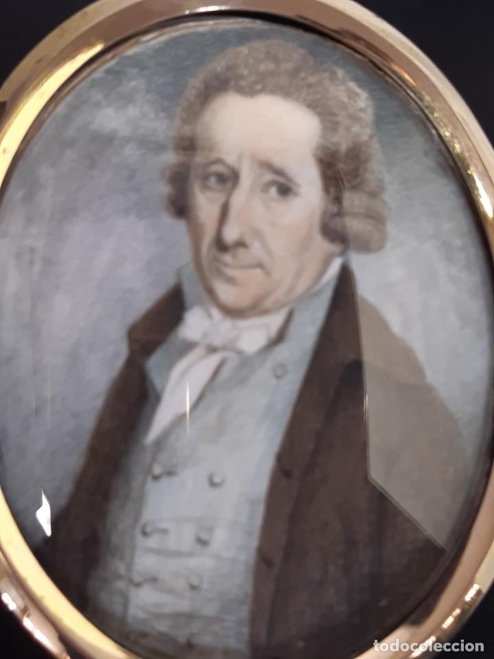 Arte: Retrato de caballero. Miniatura. Marco de época.Inglaterra. Siglo XVIII-siglo XIX. - Foto 3 - 255600925