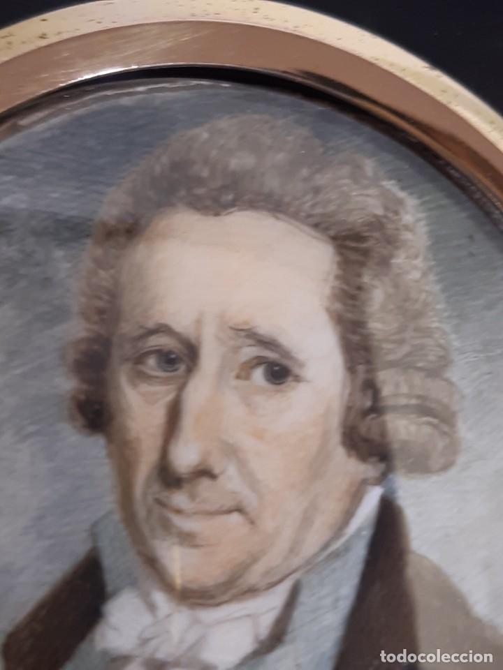 Arte: Retrato de caballero. Miniatura. Marco de época.Inglaterra. Siglo XVIII-siglo XIX. - Foto 4 - 255600925