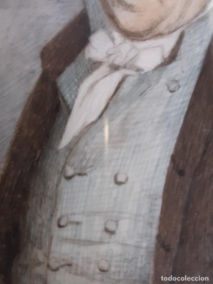 Arte: Retrato de caballero. Miniatura. Marco de época.Inglaterra. Siglo XVIII-siglo XIX. - Foto 5 - 255600925