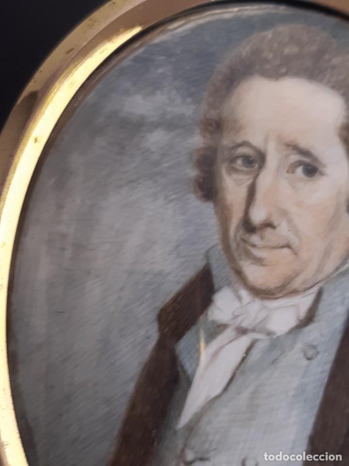Arte: Retrato de caballero. Miniatura. Marco de época.Inglaterra. Siglo XVIII-siglo XIX. - Foto 7 - 255600925