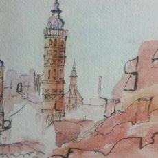 Arte: CALATAYUD ACUARELA TORRES SANTA MARIA Y SAN ANDRES FIRMADA AÑO 2011 MEDIDAS 19 POR 29 CENTIMETROS. Lote 255665425