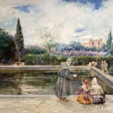 Arte: JOAQUÍN PALLARÉS ALLUSTANTE (1853-1935) JARDÍN EN ROMA. ACUARELA. Lote 256003135
