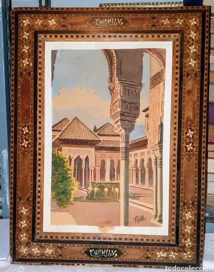 Arte: Dos cuadros pintados en acuarela, está firmados por el mismo autor. El marco es de marqueteria - Foto 2 - 256161570
