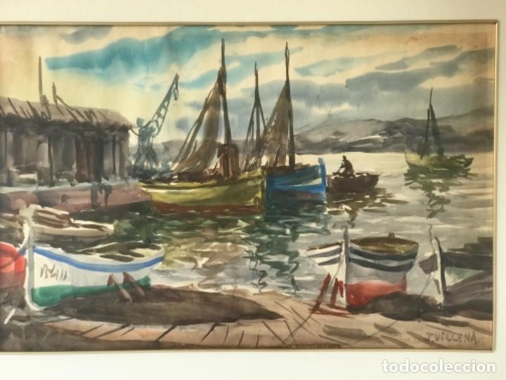 Arte: ACUARELA DE J.VILLENA. VISTA DEL PUERTO. MARINA. - Foto 2 - 257011840