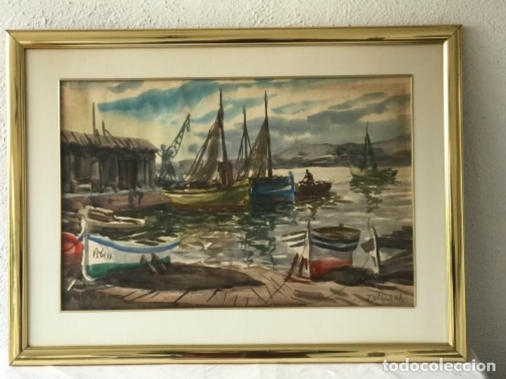Arte: ACUARELA DE J.VILLENA. VISTA DEL PUERTO. MARINA. - Foto 3 - 257011840