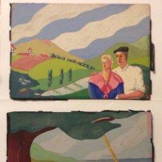 Arte: IZAGA,PAREJA DE ACUARELAS DE TEMÁTICA VASCA,FIRMADAS IZAGA 1935. Lote 257454625