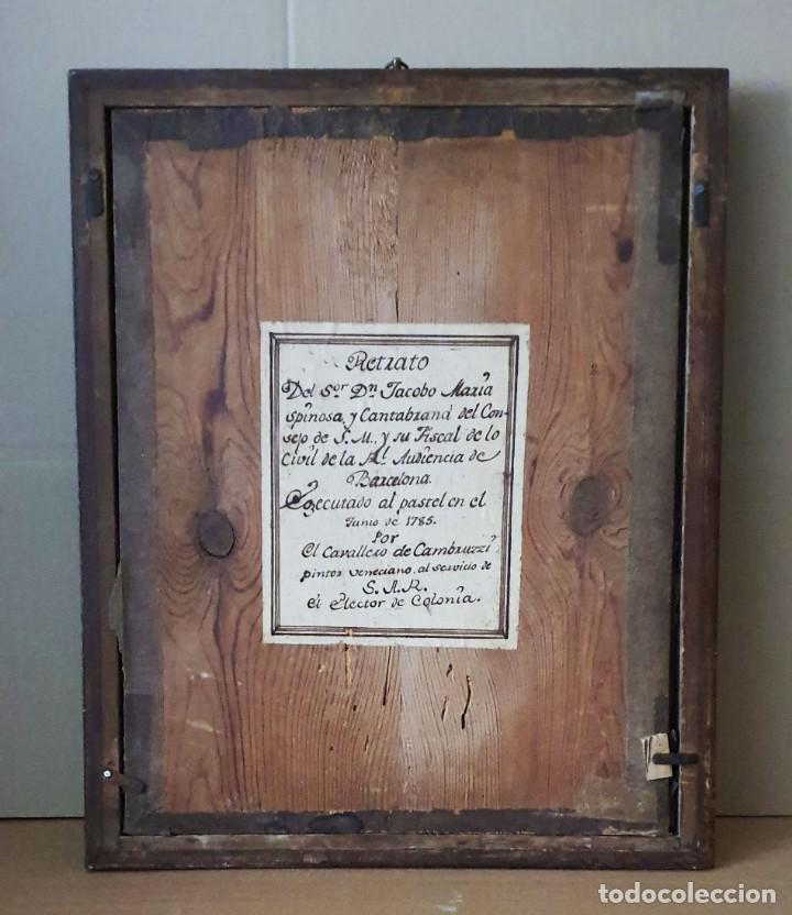 Arte: GIACOMO CAMBRUZZI - 1785 - PASTEL Y PERGAMINO - RETRATO JACOBO MARÍA SPINOSA CANTABRANA. - Foto 9 - 257481435