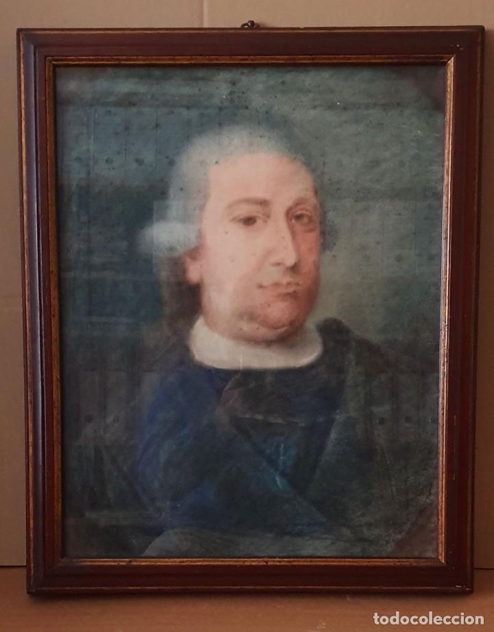 Arte: GIACOMO CAMBRUZZI - 1785 - PASTEL Y PERGAMINO - RETRATO JACOBO MARÍA SPINOSA CANTABRANA. - Foto 2 - 257481435