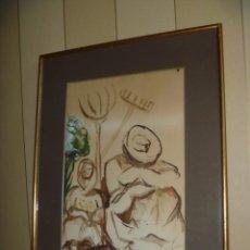 Arte: DIBUJO CAMPESINOS SIESTA PINTURA COSTUMBRISTA FIRMADA OPORTUNIDAD. Lote 257802775