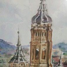 Arte: CALATAYUD TORRES DE SANTA MARIA Y SAN ANDRES ACUARELA 38 POR 20 CTMS ORIGINAL FIRMADA J.FLORES. Lote 259029150
