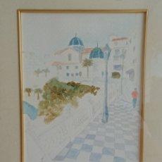Arte: ACUARELA DE CARMEN IBARRA. CASCO ANTIGUO DE BENIDORM. PLAYA MAL PAS.. Lote 259244420