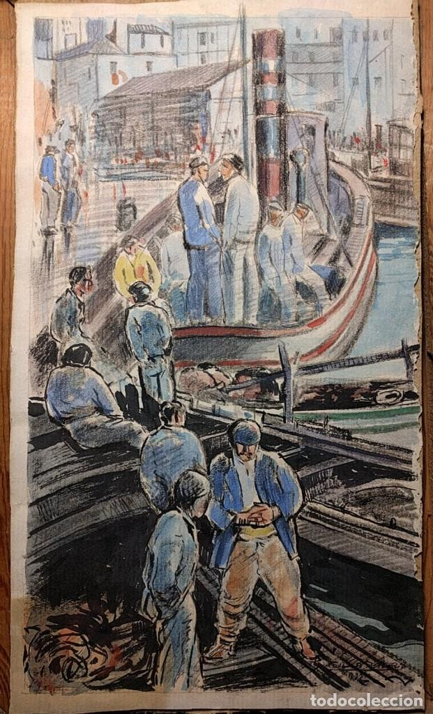 PUERTO DE VIGO. LUIS GIL DE VICARIO (1898-1959). 1932. TÉCNICA MIXTA. JUNTA AMPLIACIÓN DE ESTUDIOS (Arte - Acuarelas - Contemporáneas siglo XX)