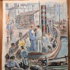 Arte: PUERTO DE VIGO. LUIS GIL DE VICARIO (1898-1959). 1932. TÉCNICA MIXTA. JUNTA AMPLIACIÓN DE ESTUDIOS. Lote 260076225