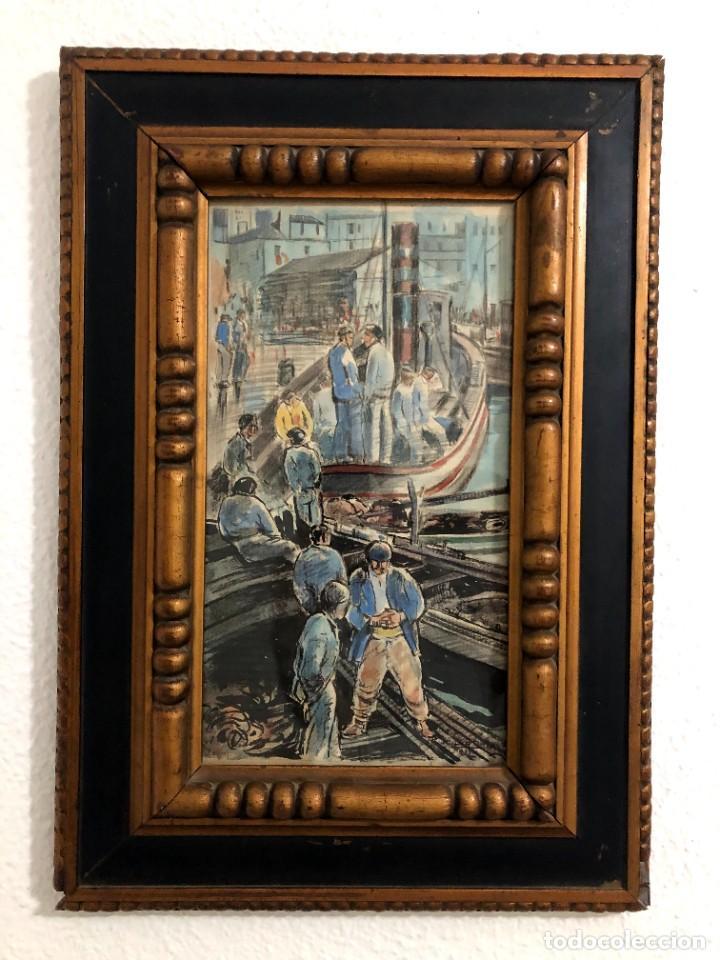 Arte: Puerto de Vigo. Luis Gil de Vicario (1898-1959). 1932. Técnica mixta. Junta Ampliación de Estudios - Foto 2 - 260076225