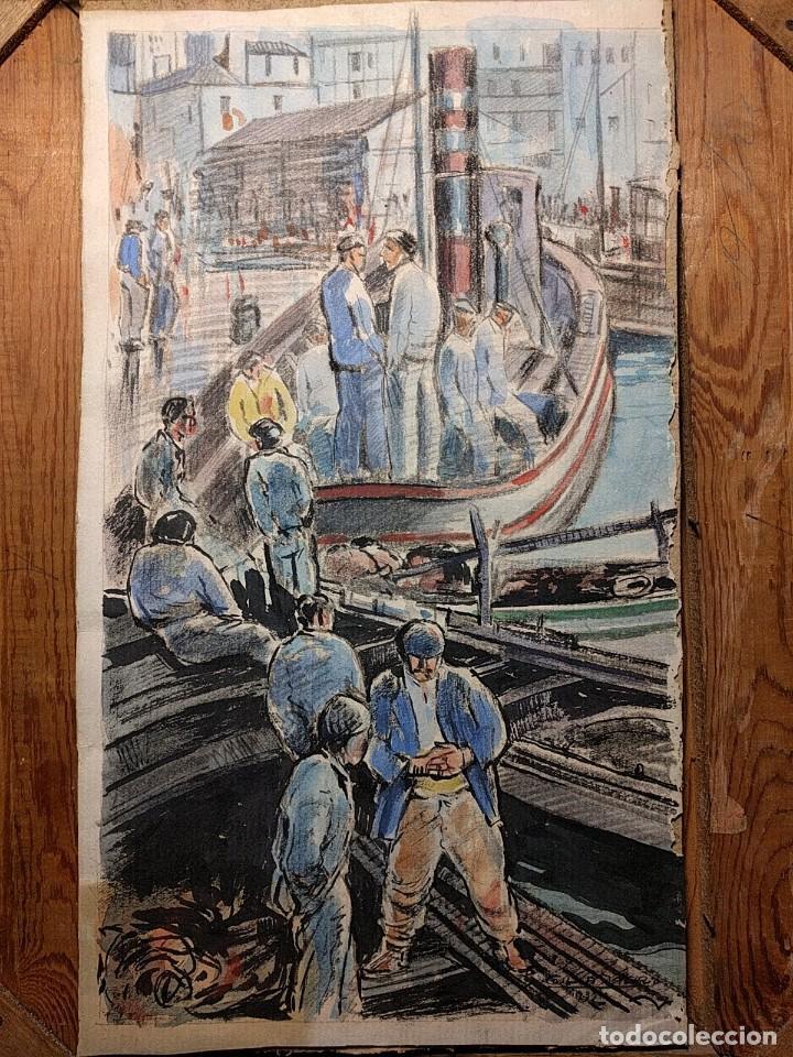 Arte: Puerto de Vigo. Luis Gil de Vicario (1898-1959). 1932. Técnica mixta. Junta Ampliación de Estudios - Foto 3 - 260076225