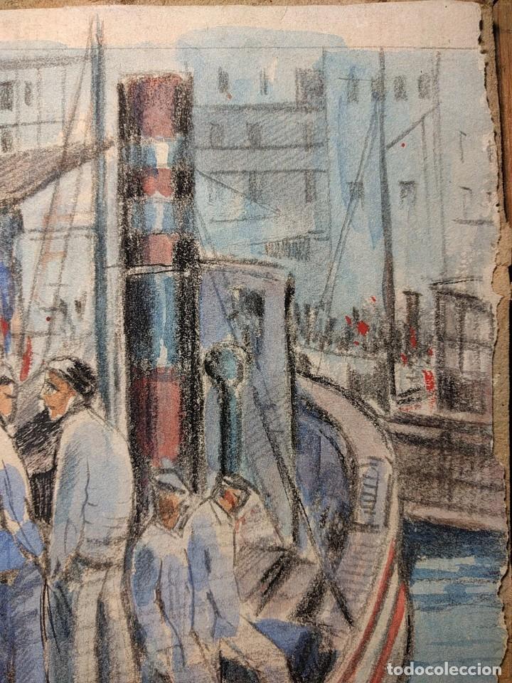 Arte: Puerto de Vigo. Luis Gil de Vicario (1898-1959). 1932. Técnica mixta. Junta Ampliación de Estudios - Foto 4 - 260076225
