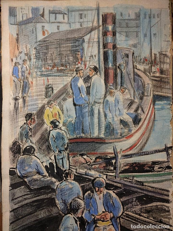 Arte: Puerto de Vigo. Luis Gil de Vicario (1898-1959). 1932. Técnica mixta. Junta Ampliación de Estudios - Foto 5 - 260076225