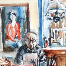 Arte: SIMÓ BUSOM GRAU (BARCELONA, 1921 - 2020) ACUARELA SOBRE PAPEL. AUTORETRATO EN SU ESTUDIO. AÑO 2004. Lote 260468700