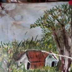 Arte: ANTIGUA ACUARELA PAISAJE CON CASERÓN PLASTIFICADO. Lote 260509850