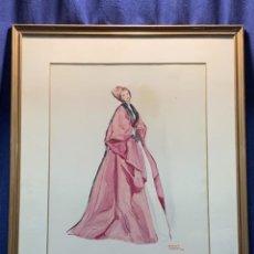 Arte: ACUARELA MODA MUJER CON CAPA Y GORRO FIRMA MIGUEL FLORES 1953 68X53CMS. Lote 260585340