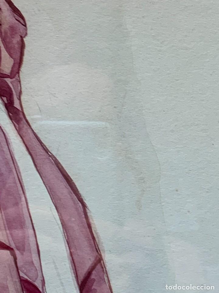 Arte: ACUARELA MODA MUJER CON CAPA Y GORRO FIRMA MIGUEL FLORES 1953 68X53CMS - Foto 8 - 260585340