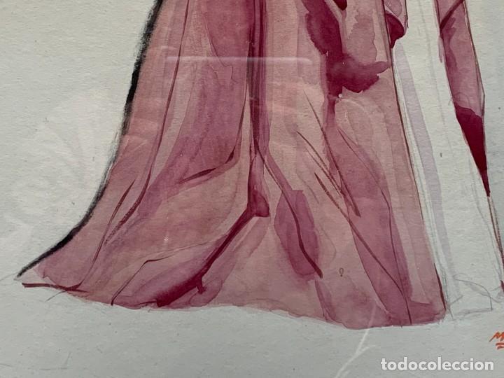 Arte: ACUARELA MODA MUJER CON CAPA Y GORRO FIRMA MIGUEL FLORES 1953 68X53CMS - Foto 10 - 260585340