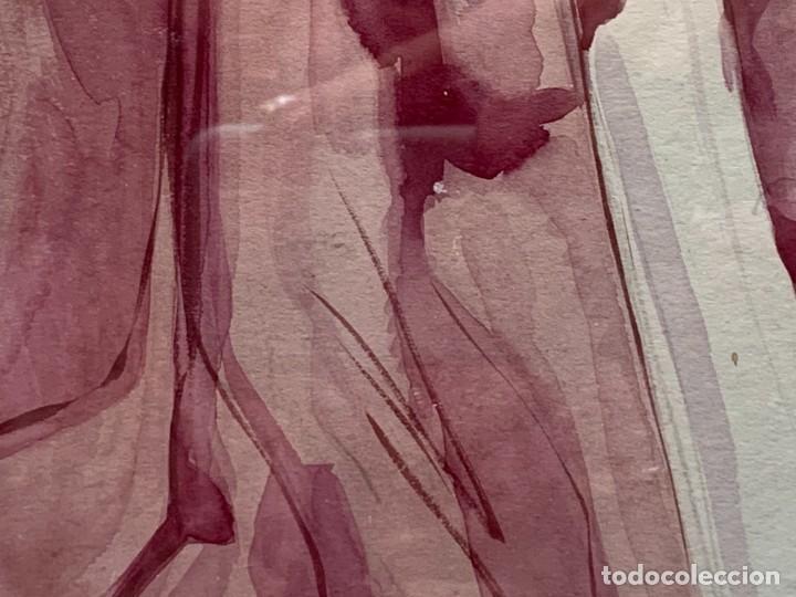 Arte: ACUARELA MODA MUJER CON CAPA Y GORRO FIRMA MIGUEL FLORES 1953 68X53CMS - Foto 11 - 260585340