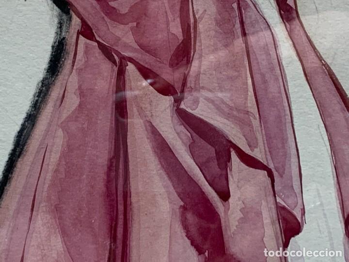 Arte: ACUARELA MODA MUJER CON CAPA Y GORRO FIRMA MIGUEL FLORES 1953 68X53CMS - Foto 12 - 260585340