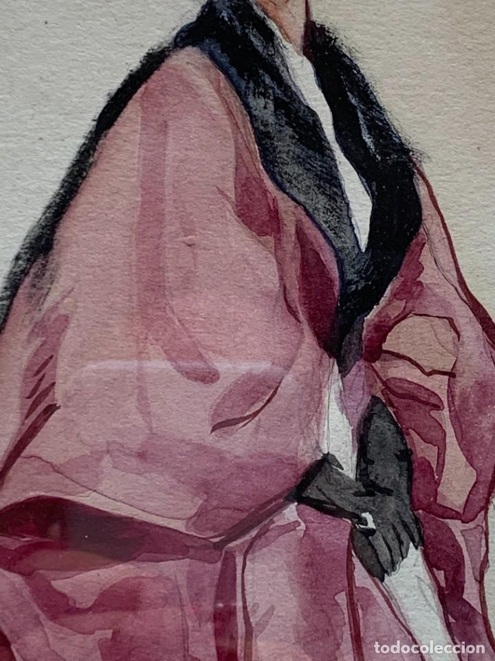 Arte: ACUARELA MODA MUJER CON CAPA Y GORRO FIRMA MIGUEL FLORES 1953 68X53CMS - Foto 13 - 260585340