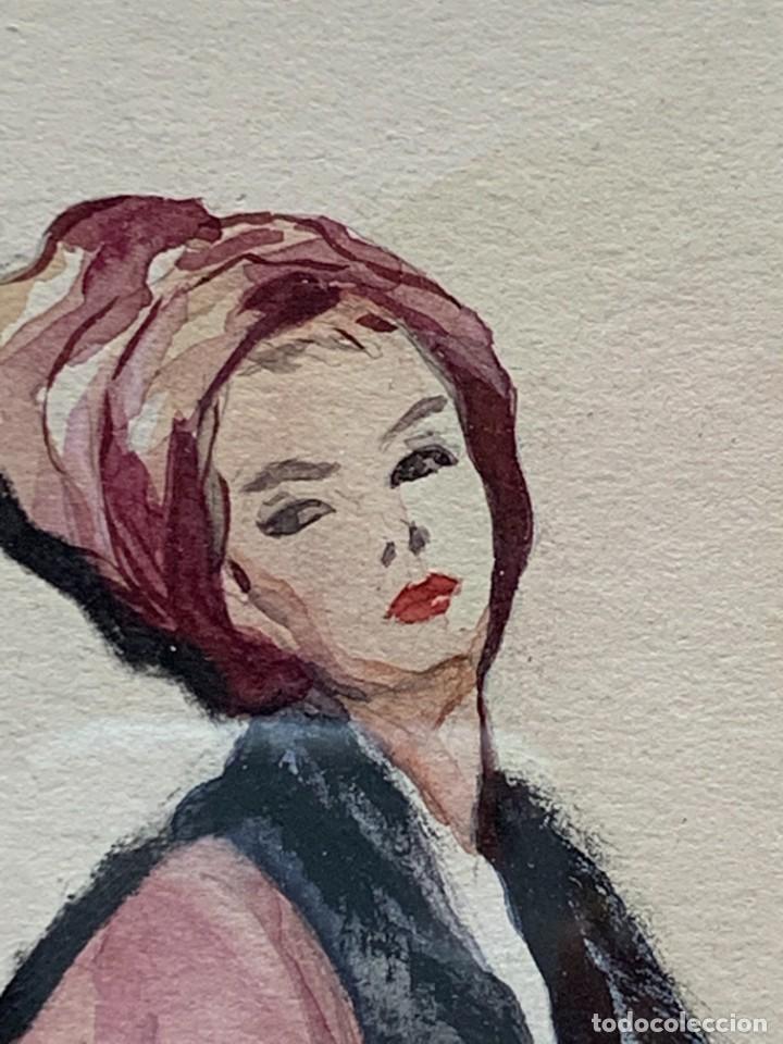 Arte: ACUARELA MODA MUJER CON CAPA Y GORRO FIRMA MIGUEL FLORES 1953 68X53CMS - Foto 14 - 260585340