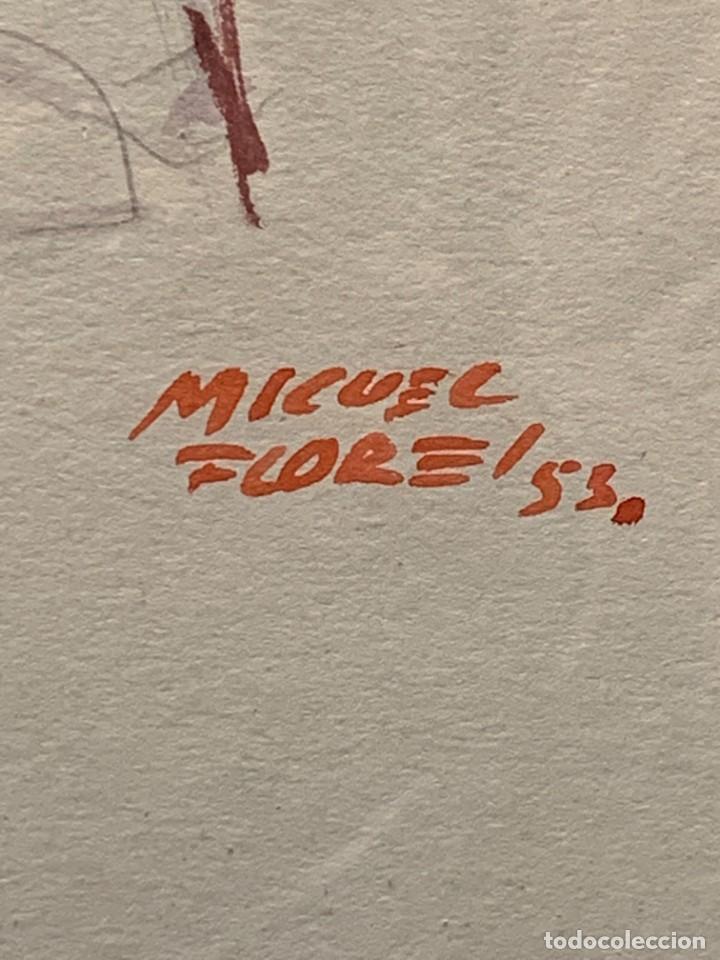 Arte: ACUARELA MODA MUJER CON CAPA Y GORRO FIRMA MIGUEL FLORES 1953 68X53CMS - Foto 15 - 260585340