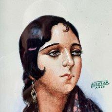 Arte: PRECIOSA ACUARELA ANTIGUA DE GUAPA GITANA FIRMADA ALCAZAR. Lote 261151005