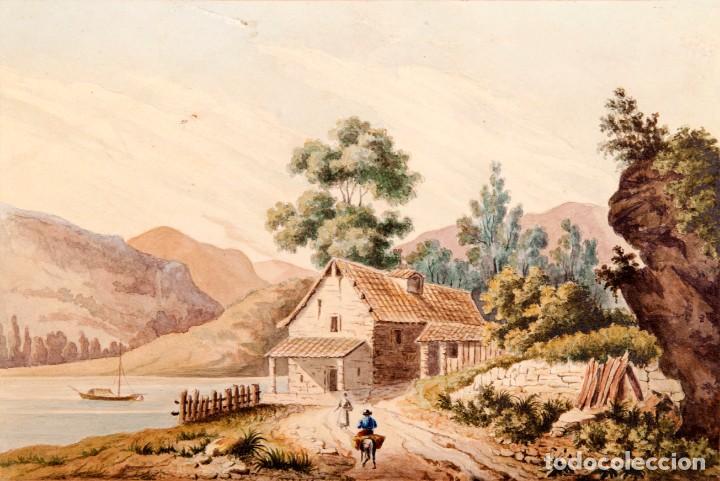 GUISSONA 1854 - ACUARELA DE J. SOLDEVILA (Arte - Acuarelas - Modernas siglo XIX)