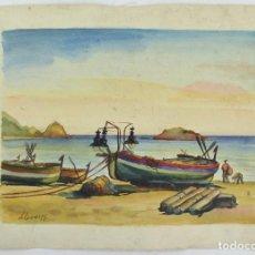 Arte: FREDERIC LLOVERAS, BARCAS EN LA PLAYA, 1955, ACUARELA, FIRMADA. 35X25CM. Lote 261523710