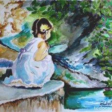 Arte: NENA EN EL ESTANQUE OBRA DE GILABERTE. Lote 261966695