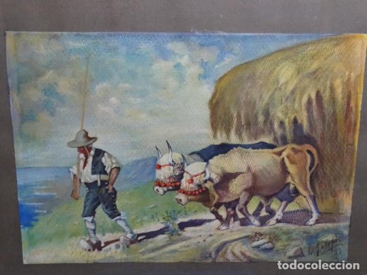 GRAN ACUARELA DE BALDOMERO GALOFRE I GIMÉNEZ (REUS 1849-BARCELONA 1902).1896. CAMPESINO CON BUEYES. (Arte - Acuarelas - Modernas siglo XIX)