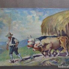 Arte: GRAN ACUARELA DE BALDOMERO GALOFRE I GIMÉNEZ (REUS 1849-BARCELONA 1902).1896. CAMPESINO CON BUEYES.. Lote 262124200