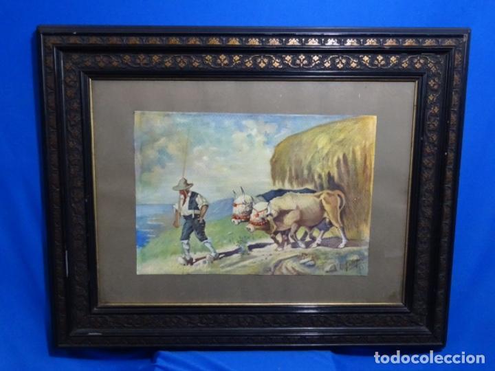 Arte: GRAN ACUARELA DE BALDOMERO GALOFRE I GIMÉNEZ (REUS 1849-BARCELONA 1902).1896. CAMPESINO CON BUEYES. - Foto 2 - 262124200