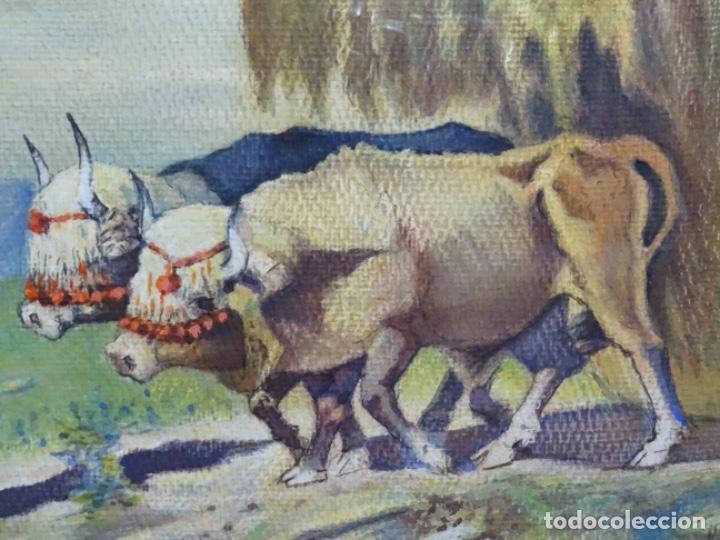 Arte: GRAN ACUARELA DE BALDOMERO GALOFRE I GIMÉNEZ (REUS 1849-BARCELONA 1902).1896. CAMPESINO CON BUEYES. - Foto 3 - 262124200