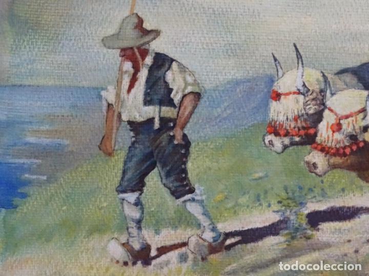 Arte: GRAN ACUARELA DE BALDOMERO GALOFRE I GIMÉNEZ (REUS 1849-BARCELONA 1902).1896. CAMPESINO CON BUEYES. - Foto 4 - 262124200