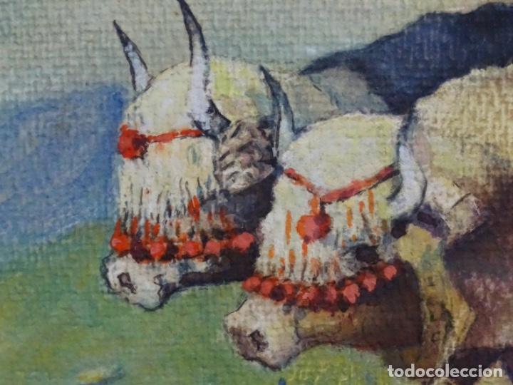 Arte: GRAN ACUARELA DE BALDOMERO GALOFRE I GIMÉNEZ (REUS 1849-BARCELONA 1902).1896. CAMPESINO CON BUEYES. - Foto 10 - 262124200