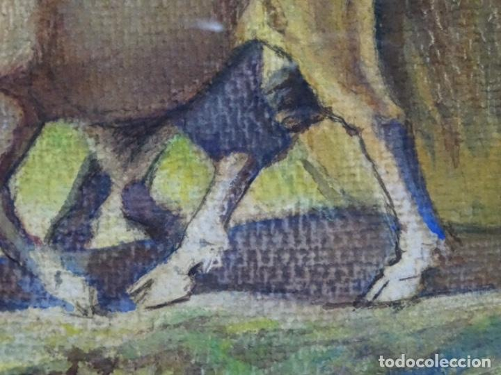 Arte: GRAN ACUARELA DE BALDOMERO GALOFRE I GIMÉNEZ (REUS 1849-BARCELONA 1902).1896. CAMPESINO CON BUEYES. - Foto 11 - 262124200