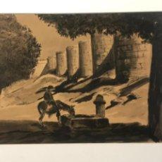 Arte: ACUARELA POSIBLEMENTE DE TOLEDO 1950'S. DESCONOCEMOS AUTOR.. Lote 262276380
