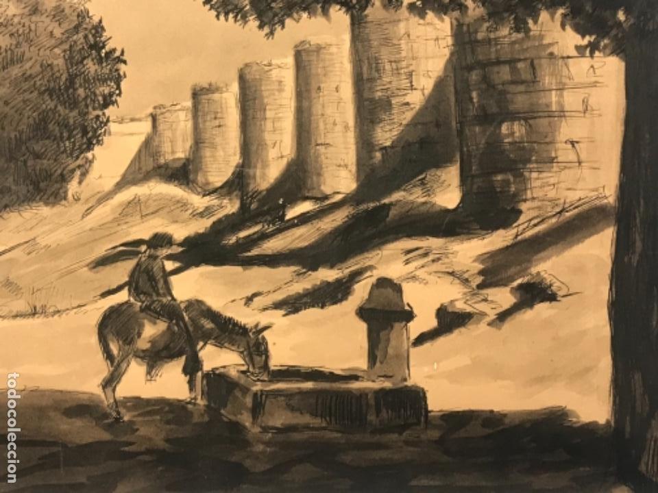 Arte: ACUARELA POSIBLEMENTE DE TOLEDO 1950'S. DESCONOCEMOS AUTOR. - Foto 3 - 262276380